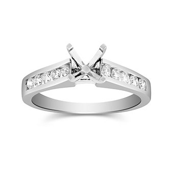 14K White Gold Channel Set Round Diamond Ring Mounting