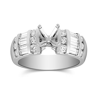 14K White Gold Vertical Channel Set Round and Baguette Damond Ring Mounting