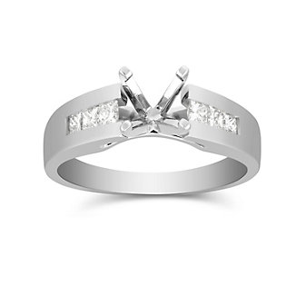 14K White Gold Petite Channel Set Princess Cut Diamond Ring Mounting