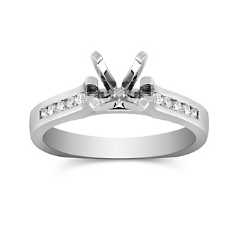 14K White Gold Petite Channel Set Round Diamond Ring Mounting