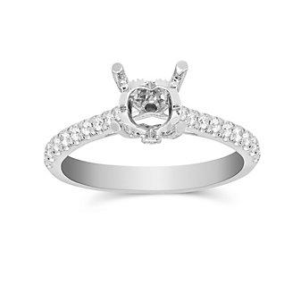 14K White Gold Prong Set Round Diamond Ring Mounting