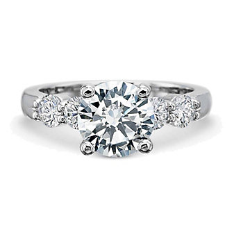 Precision Set 18K White Gold Prong Set Round Diamond Ring Mounting