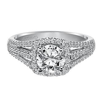 ArtCarved 14K White Gold Ava Diamond Engagement Ring Setting