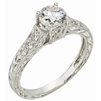 14K_White_Gold_Engraved_Ring_Mounting_With_Diamond_Shoulders,_0.20cttw