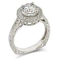 14K_White_Gold_Engraved_Diamond_Halo_Ring_Mounting,_0.31cttw