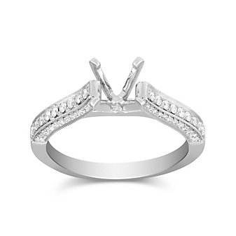 14K White Gold Three Sides Prong Set Round Diamond Ring Mounting