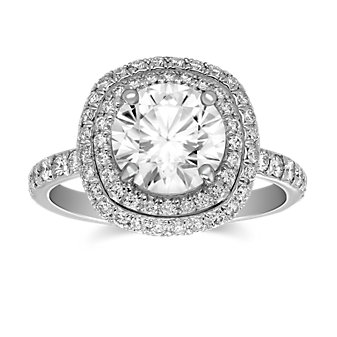 Precision Set 18K White Gold Double Halo Ring Mounting