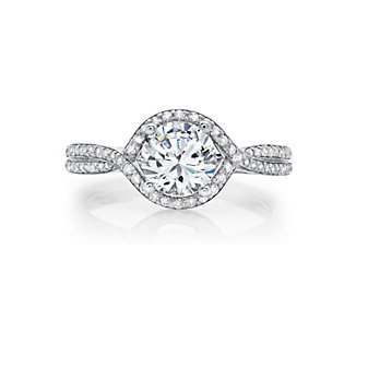 peter storm 18k white gold diamond halo twist ring mounting