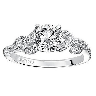 ArtCarved 14K White Gold Round Diamond Milena Ring Mounting