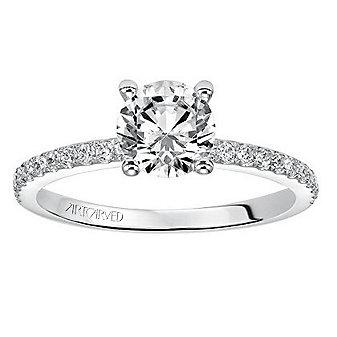 ArtCarved 14K White Gold Round Diamond Milena Ring Mounting