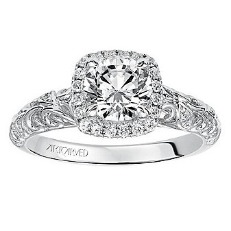 ArtCarved 14K White Gold Diamond Square Halo Piper Ring Mounting