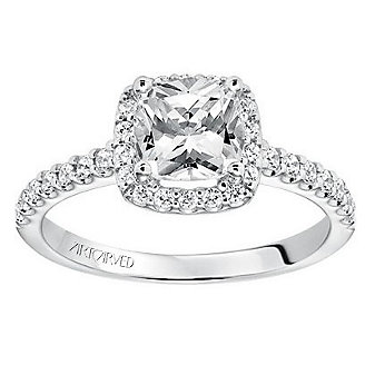 ArtCarved 14K White Gold & Round Diamonds Cushion Halo Layla Ring Mounting