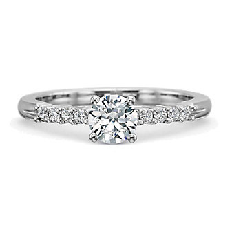 Precision Set 18K White Gold Prong Set Diamond Ring Setting, 0.15cttw