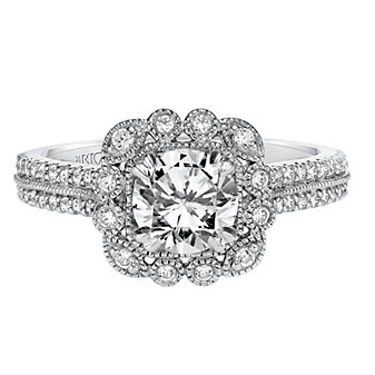 ArtCarved 14K White Gold Jasmine Diamond Engagement Ring Setting