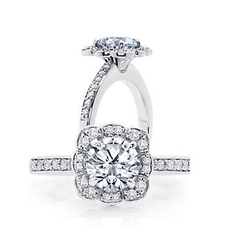 Peter Storm 18K White Gold Diamond Scalloped Halo Ring Mounting