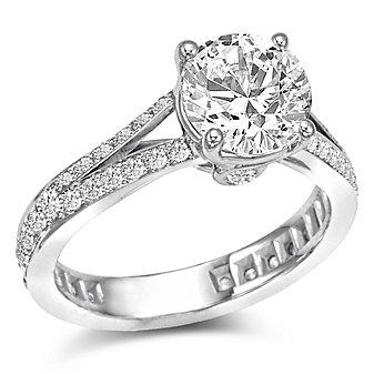 18K White Gold Split Shank Diamond Ring Mounting