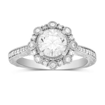 14K White Gold Floral Diamond Halo Ring Mounting