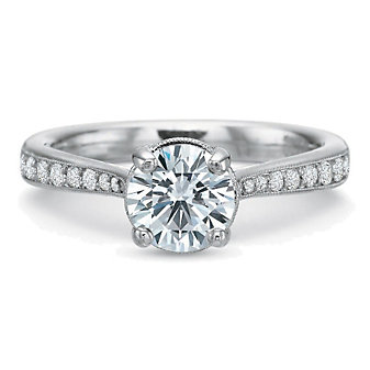 Precision Set 18K White Gold Milgrain Edge Diamond Ring Setting, 0.28cttw