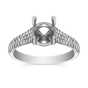 Precision Set 18K White Gold Three Row Diamond Ring Setting, 0.28cttw