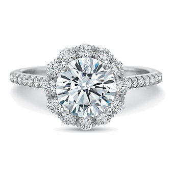 Precision Set 18K White Gold Diamond Halo Ring Setting With Floral Gallery, 0.70cttw
