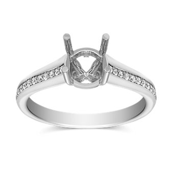Precision Set 18K White Gold Tapered Diamond Ring Setting, 0.15cttw