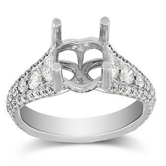 Precision Set 18K White Gold Three Row Diamond Ring Mounting