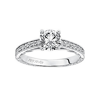ArtCarved 14K White Gold & Round Diamond Ferm Ring Mounting