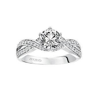 ArtCarved 14K White Gold & Round Diamond Twist Presley Ring Mounting