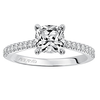 ArtCarved 14K White Gold Ring Mounting with Diamond Shank