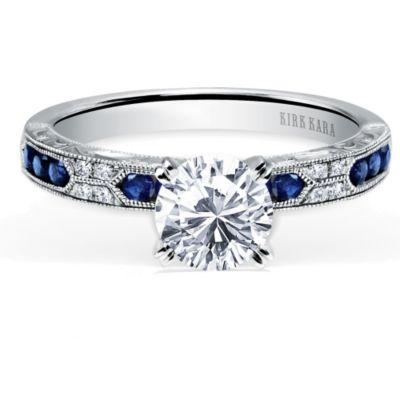 Kirk Kara 18K White Gold Charlotte Diamond & Round Sapphire Ring Mounting