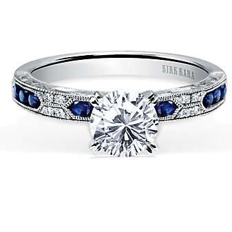 Kirk Kara 18K White Gold Charlotte Diamond & Round Sapphire Ring Mounting