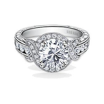 Kirk Kara 18K White Gold Pirouetta Diamond Ring Mounting, 0.56cttw