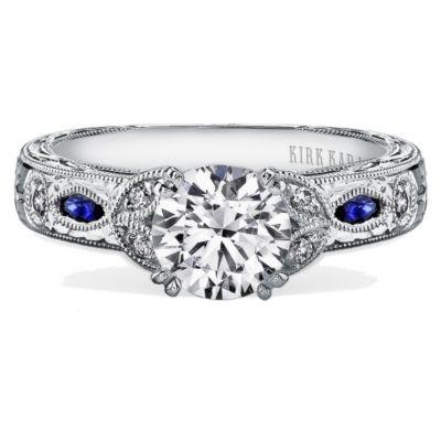 Kirk Kara 18K White Gold Dahlia Diamond & Sapphire Ring Mounting