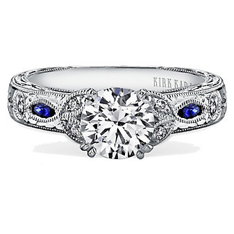 Kirk Kara 18K White Gold Dahlia Diamond & Sapphire Ring Mounting