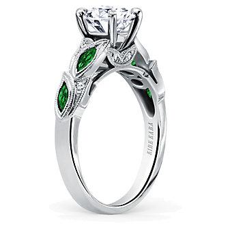 Kirk Kara 18K White Gold Dahlia Diamond & Tsavorite Ring Mounting