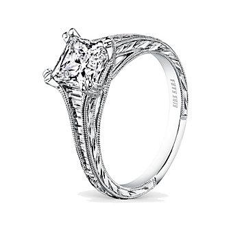Kirk Kara 18K White Gold Stella Baguette Diamond Ring Mounting, 0.37cttw