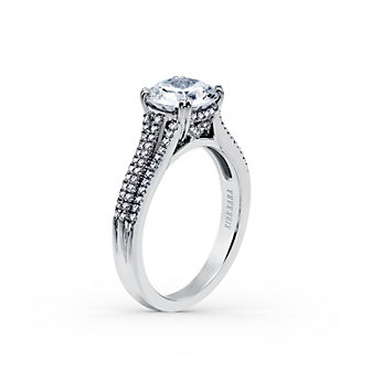Kirk Kara 18K White Gold Stella 3 Row Diamond Ring Mounting, 0.26cttw