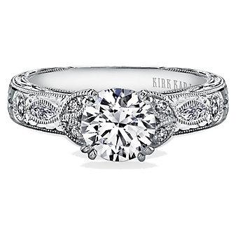 Kirk Kara 18K White Gold Dahlia Leaf Diamond Ring Mounting, 0.23cttw