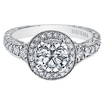 Kirk Kara 18K White Gold Carmella Halo Diamond Ring Mounting, 0.43cttw