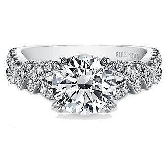 Kirk Kara 18K White Gold Pirouetta Diamond Ring Mounting, 0.33cttw