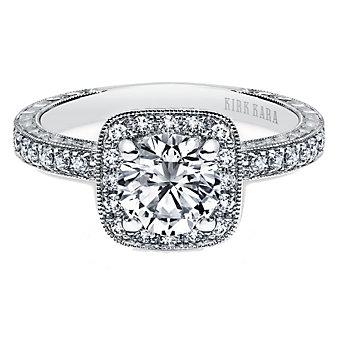 Kirk Kara 18K White Gold Carmella Halo Diamond Ring Mounting, 0.28cttw