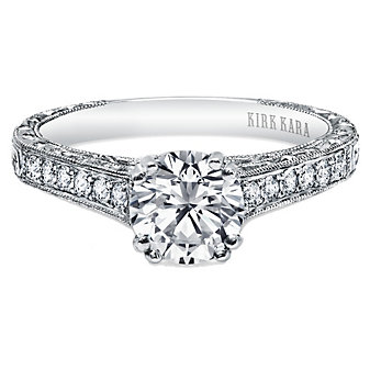 Kirk Kara 18K White Gold Stella Scroll Diamond Ring Mounting, 0.21cttw