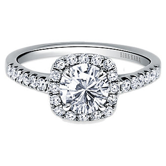 Kirk Kara 18K White Gold Carmella Square Halo Diamond Ring Mounting, 0.36cttw