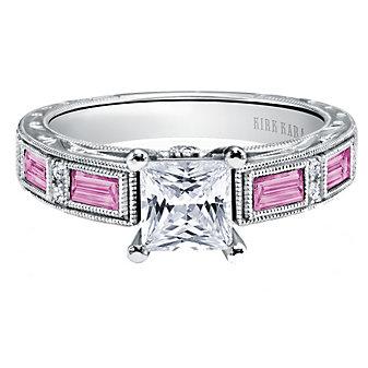 Kirk Kara 18K White Gold Charlotte Diamond & Pink Sapphire Ring Mounting