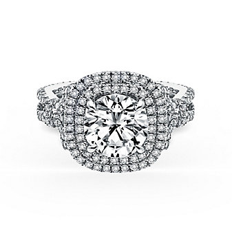 kirk kara 18k white gold diamond square halo pirouette collection ring mounting