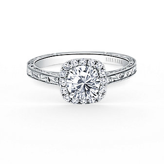 kirk kara 18k white gold diamond halo engraved carmella ring mounting