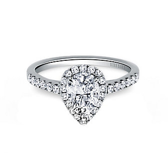 Kirk Kara 18K White Gold Ring Mounting with Diamond Pear Halo and Shank