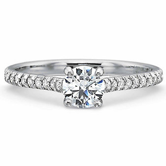 Precision Set 18K White Gold Diamond Ring Setting, 0.12cttw