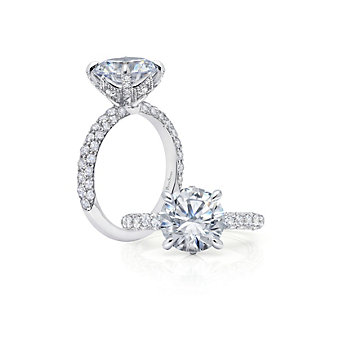 Peter Storm 18K White Gold Three Sided Diamond Ring Mounting