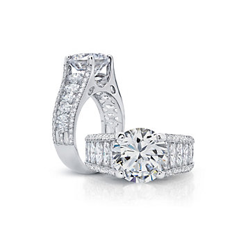 Peter Storm 18K White Gold Round & Marquise Diamond Ring Mounting